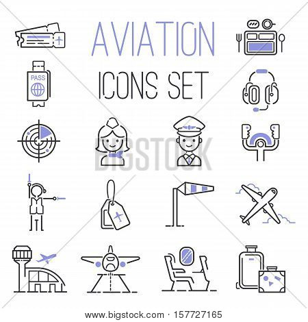 Aviation icons vector set airline graphic illustration. Vector flight airport transportation aviation icons passenger design set. Aviation icons departure cargo world luggage boarding aircraft.