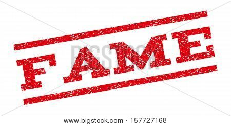 Fame watermark stamp. Text caption between parallel lines with grunge design style. Rubber seal stamp with dirty texture. Vector red color ink imprint on a white background.