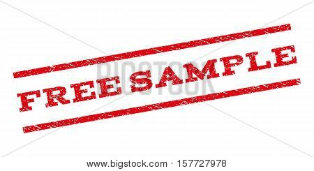 Free Sample watermark stamp. Text tag between parallel lines with grunge design style. Rubber seal stamp with dirty texture. Vector red color ink imprint on a white background.