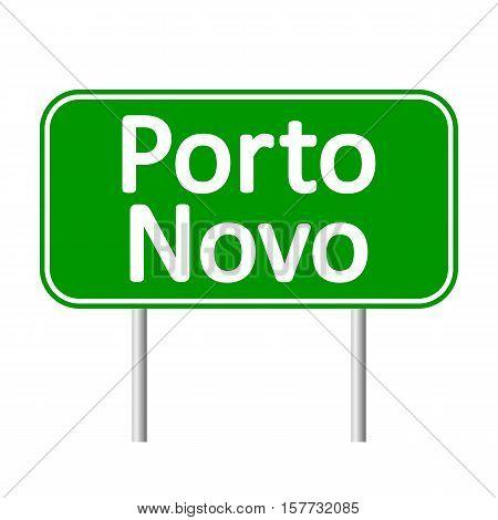 Porto Novo road sign isolated on white background.