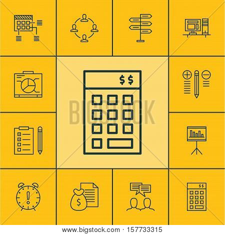 Set Of Project Management Icons On Report, Schedule And Discussion Topics. Editable Vector Illustrat