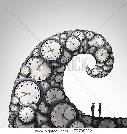 Overwhelmed schedule and overtime working hours concept as people looking at a giant wave made of time clock objects with 3D illustration elements.