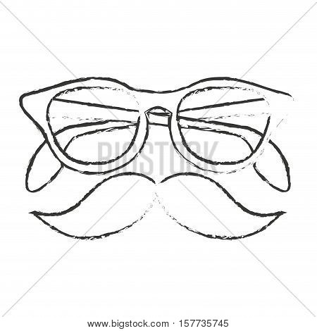 Glasses and mustache icon. Hipster style vintage retro fashion and culture theme. Isolated design. Vector illustration