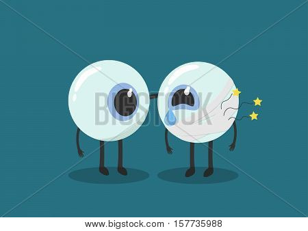 vector cartoon human eyes injury.Used to describe the eye clinic or illnesses related to the eye.