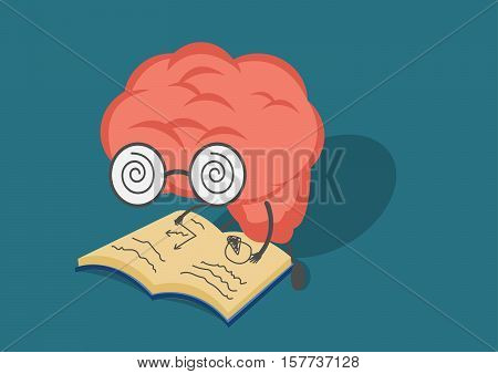 vector cartoon brain read book.Can represent a significant business developments such as thinking learning practice.
