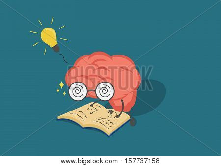 vector cartoon brain read book.Can represent a significant business developments such as thinking learning practicepatience.