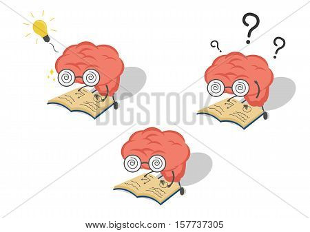 Vector cartoon set brain with book in fell confusedget idea.Can represent a significant business developments such as thinking learning practice.