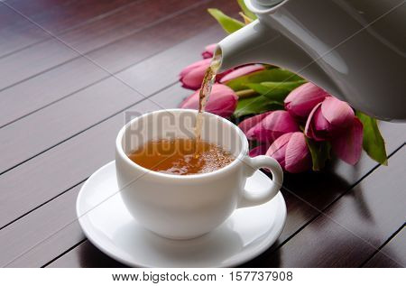 Cup of tea in catering concept