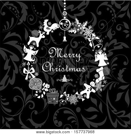 Black and white greeting card with funny xmas wreath