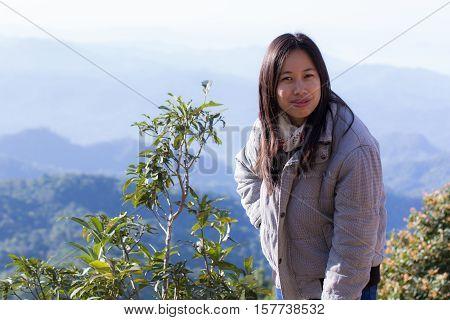 Thai woman at doi dam, wianghaeng chiangmai Thailand