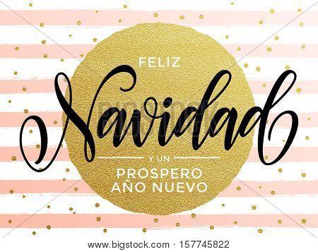 Merry Christmas Feliz Navidad Spanish text. Calligraphy lettering modern trend. Gold glitter gilding greeting card. Vector pink festive stripes, snowflakes, golden glittering circle ball ornament