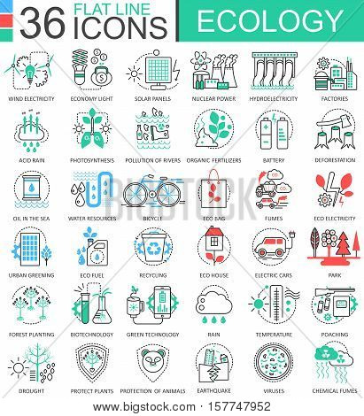 Vector Ecology flat line outline icons for apps and web design. Ecology technology icon