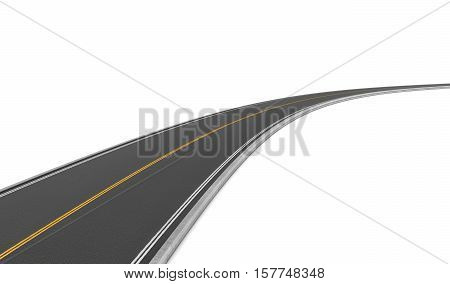 3d rendering of a two-way road bending to the right on a white background. Road markings and signs. Change of direction. New horizons and opportunities. Make a hairpin turn.