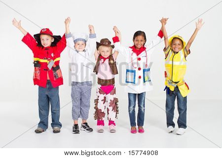 cheerful group of kids in uniforms