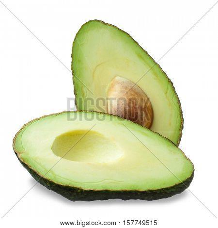 Fresh tropical avocado fruit studio isolated on white background