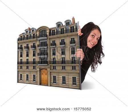Cute brunette and old Parisian building