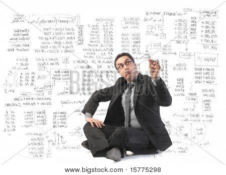 Businessman writing some complicated graphics