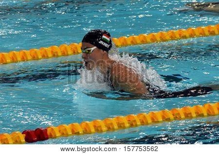 Hong Kong China - Oct 29 2016. Hungarian swimmer Zsuzsanna Jakabos swimming breaststroke. FINA Swimming World Cup Preliminary Heats Victoria Park Swimming Pool.