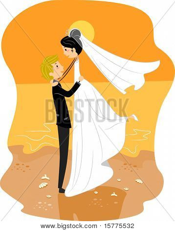 Illustration of a Newlywed Couple by the Beach