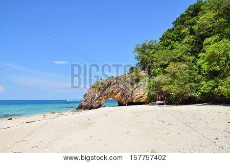 Natural stone arch at Ko Khai near Tarutao national park Satun Thailand