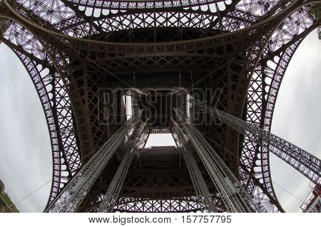 View from the bottom of the Eiffel tower