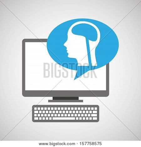 pc device medical concept head brain vector illustration eps 10