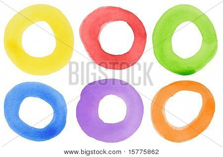 Abstract watercolor hand painted circle shape design elements. Made myself.