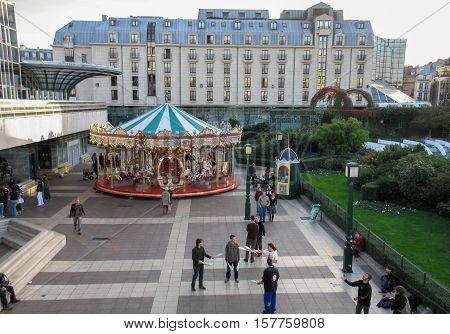 PARIS, FRANCE - NOVEMBER 29, 2006: Parisian colorful carousel near the Pompidou centre