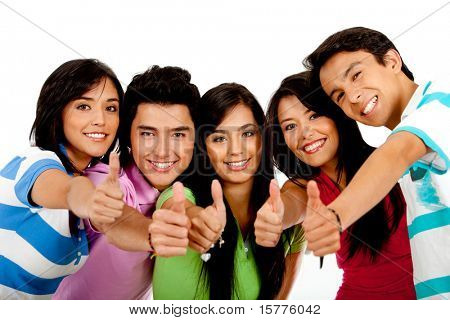 Group of people with thumbs up � isolated over a white background