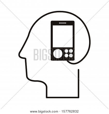 black silhouette head with music player vector illustration