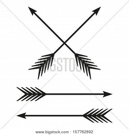 Arrows set. Bow arrow isolated on white background. Vintage design element. Archer symbol. Vector illustration.