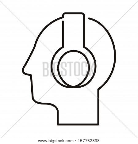 black silhouette head with headphones vector illustration