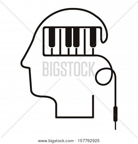 black silhouette head with piano keys vector illustration
