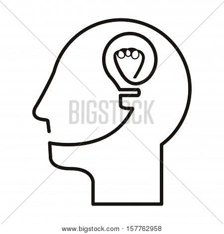 black silhouette head with light bulb vector illustration