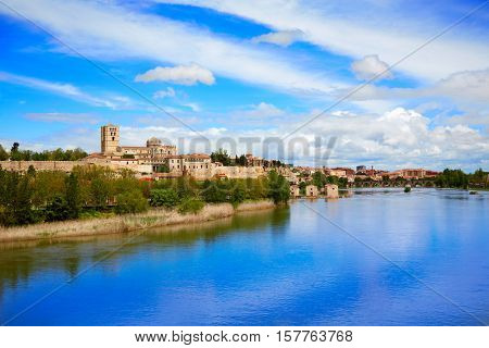 Zamora skyline by Duero river of Spain on the Via de la Plata way to Santiago
