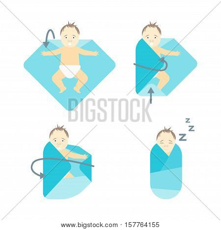 Baby Swaddle Step by Step. Poster with the Instruction Manual. Order Correct Movements. Vector illustration