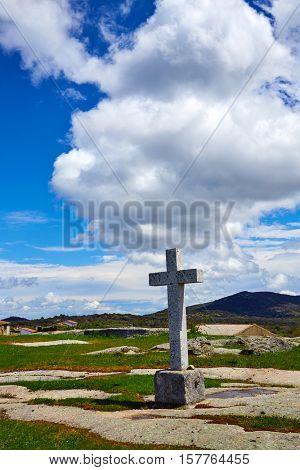 Nava de Bejar pilgrim stone cross in Salamanca by the Via de la Plata of Spain