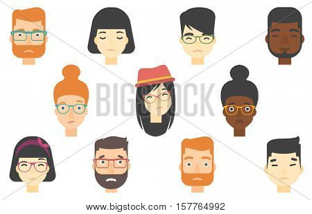 Set of people expressing facial emotions. Human faces with sad facial expressions. Human faces showing sad emotion. People with sad faces. Vector flat design illustrations isolated on white background