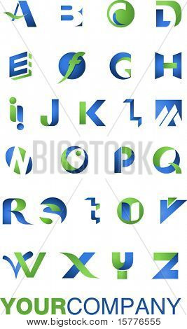 many icons, alphabet