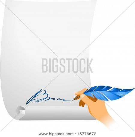 icon of the hand with feather on the paper