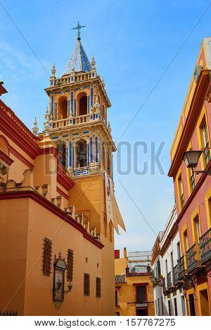 Seville Santa Ana church in Spain at Triana barrio of Sevilla andalusia