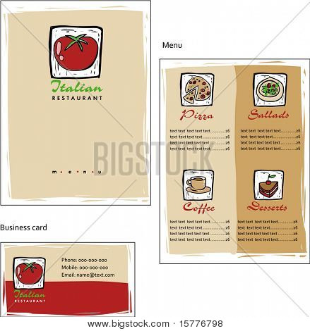 Template designs of menu and business card for coffee shop and Italian restaurant, vector file include