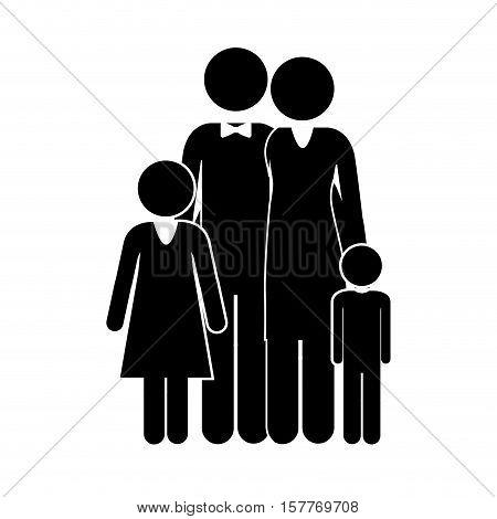 black silhouette of family nucleus vector illustration