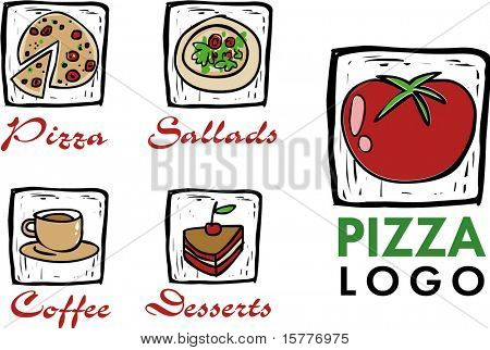 collection of icons for restaurant, pizza or coffee shop