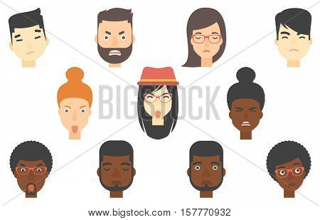 Set of people of various ethnicity expressing diverse emotions. Contemptuous man sticking out tongue. Annoyed woman showing tongue. Set of vector flat design illustrations isolated on white background