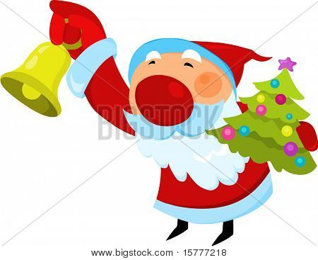 Santa Claus with Christmas tree and jingle bell   - for additional works of this kind, CLICK ON MY NICKNAME BELOW TO VISIT MY GALLERY