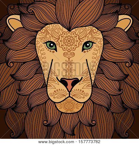 Lion head with henna tattoo elements. Lion animal portrait vector illustration