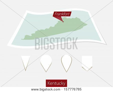 Curved Paper Map Of Kentucky State With Capital Frankfort On Gray Background. Four Different Map Pin
