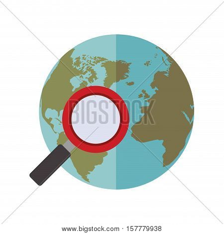 blue sphere world with magnifying glass vector illustration