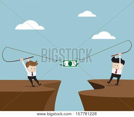 Two Businessman Fishing Money Business Challenge Concept Vector Illustration